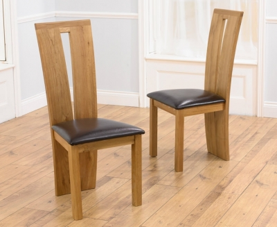 Clearance Mark Harris Arizona Oak Dining Chair - Brown Bycast Leather Seat (Pair) - G98
