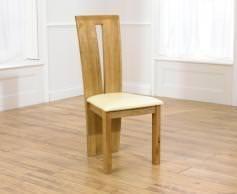 Clearance Mark Harris Arizona Oak Dining Chair - Cream Bycast Leather Seat (Pair)