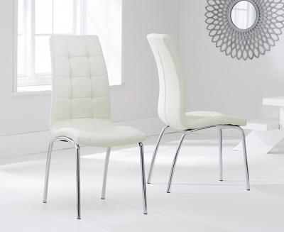 Clearance Mark Harris California Cream Faux Leather Dining Chair (Pair) - G81