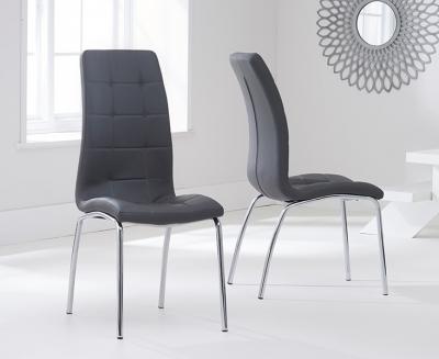 Clearance Mark Harris California Grey Faux Leather Dining Chair (Pair)
