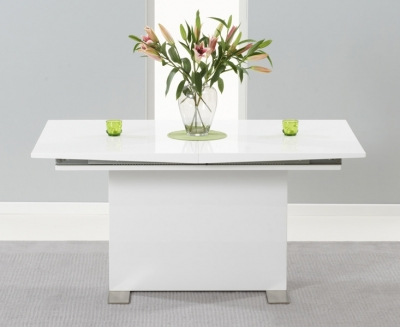 Clearance Mark Harris Marila White High Gloss Extending Dining Table - 150cm-200cm - 95
