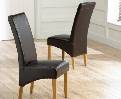 Clearance Mark Harris Roma Oak Dining Chair - Brown Bycast Leather (Pair)