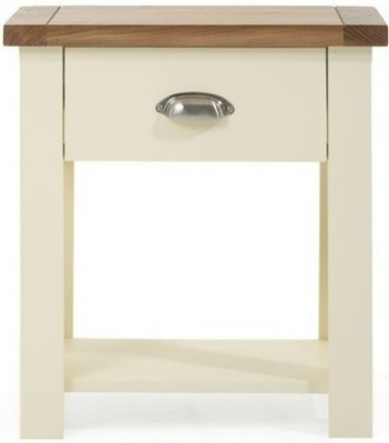 Clearance Mark Harris Sandringham Oak and Cream 1 Drawer Bedside Cabinet