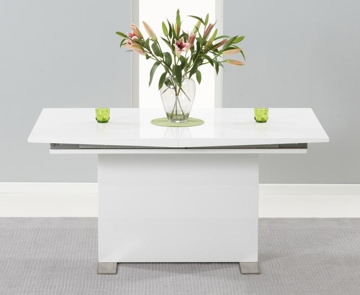 Clearance Mark Harris Marila White High Gloss Extending Dining Table - 150cm-200cm - 95