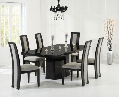 Mark Harris Como Black Constituted Marble Dining Set with 6 Rivilino Brown Dining Chairs