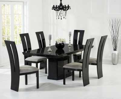 Mark Harris Como Black Constituted Marble Dining Set with 6 Valencie Brown Dining Chairs