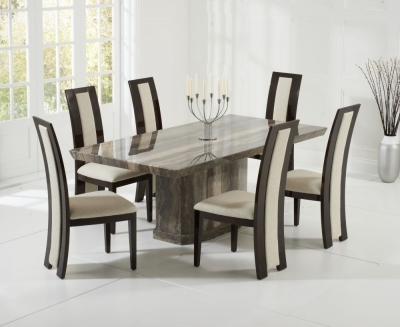 Mark Harris Como Brown Constituted Marble Dining Set with 6 Rivilino Brown Dining Chairs