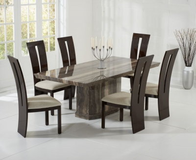 Mark Harris Como Brown Constituted Marble Dining Set with 6 Valencie Brown Dining Chairs