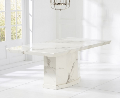 Mark Harris Como White Engineered Marble Large Dining Table