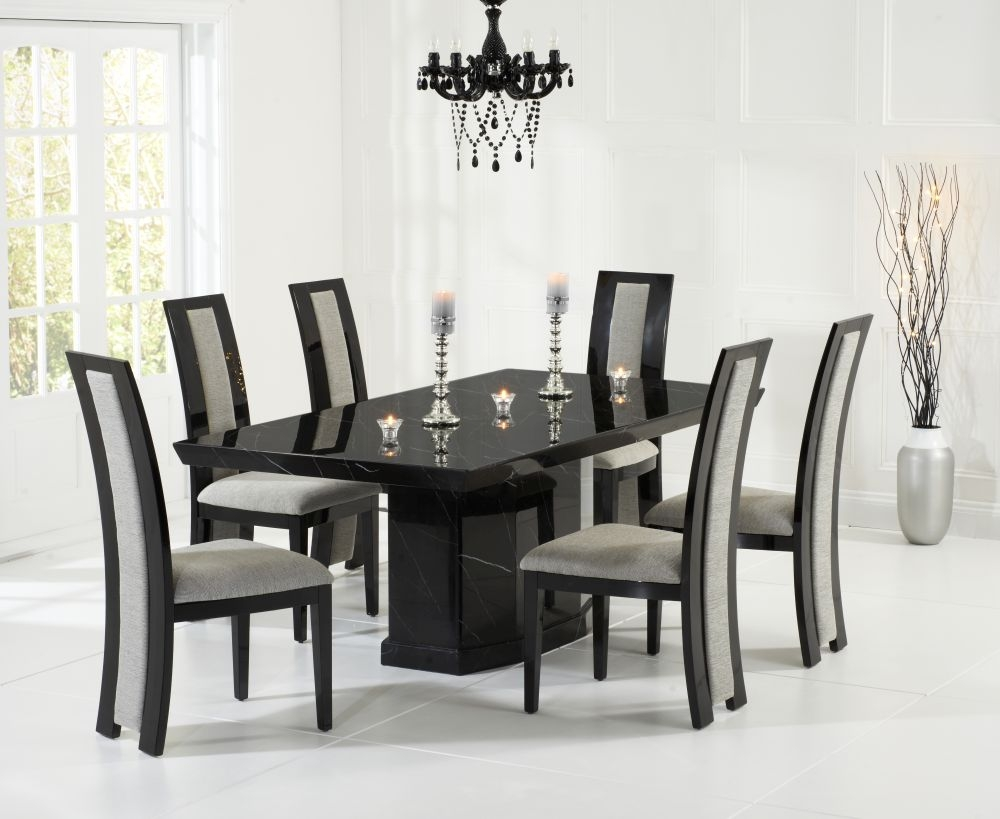 Mark Harris Como Black Marble Dining Set - 200cm with 4 Rivilino Chairs
