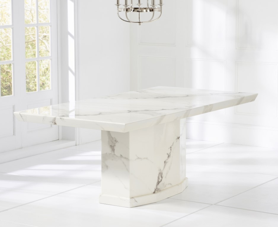 Mark Harris Como White Marble Large Dining Table