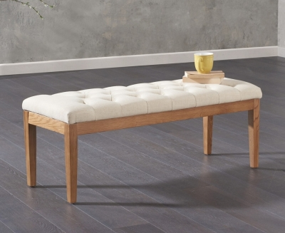 Mark Harris Courtney Beige Fabric Dining Bench