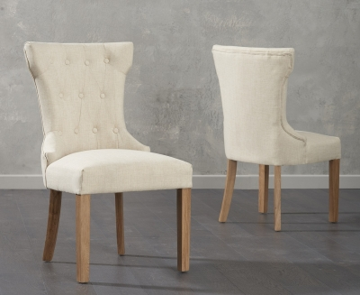 Mark Harris Courtney Beige Fabric Dining Chair (Pair)