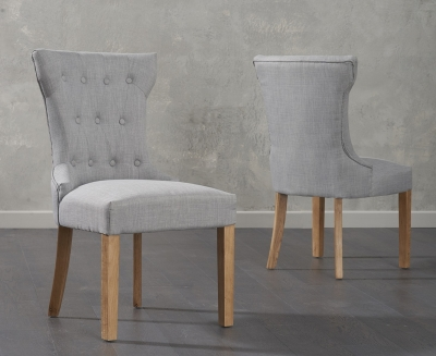 Mark Harris Courtney Grey Fabric Dining Chair (Pair)