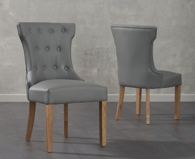 Mark Harris Courtney Grey Faux Leather Dining Chair (Pair)