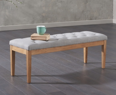 Mark Harris Courtney Grey Fabric Dining Bench
