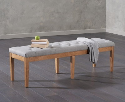 Mark Harris Courtney Grey Fabric Large Dining Bench