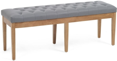 Mark Harris Courtney Grey Faux Leather Large Dining Bench
