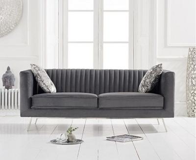 Mark Harris Danielle Grey Velvet 2 Seater Sofa