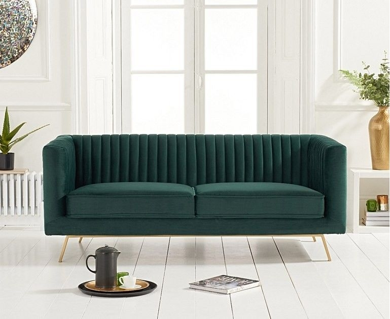 Mark Harris Danielle Green Velvet 2 Seater Sofa