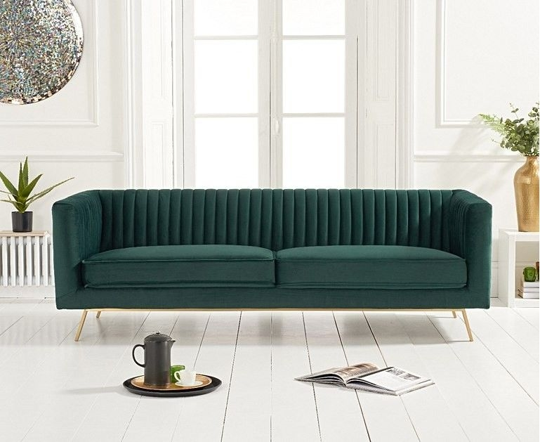 Mark Harris Danielle Green Velvet 3 Seater Sofa