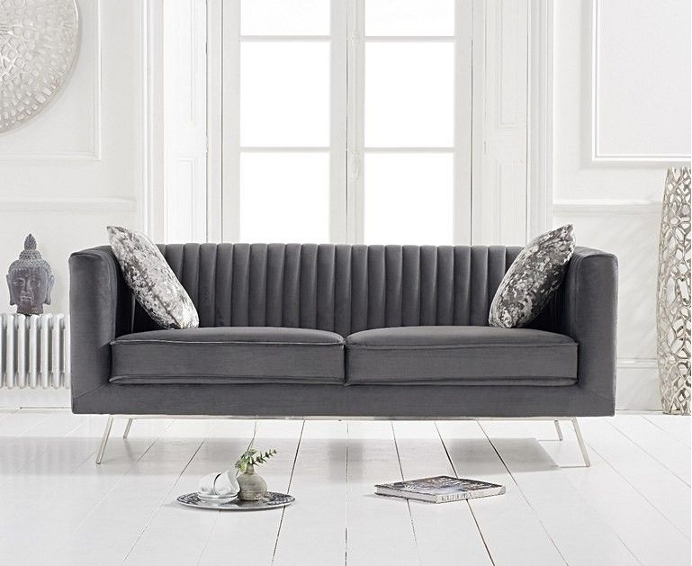 Mark Harris Danielle Grey Velvet 2 Seater Sofa