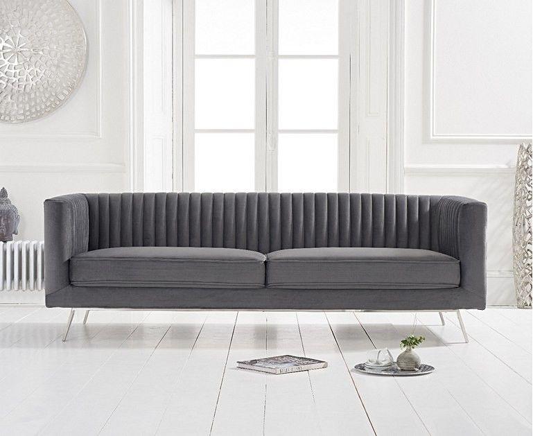 Mark Harris Danielle Grey Velvet 3 Seater Sofa