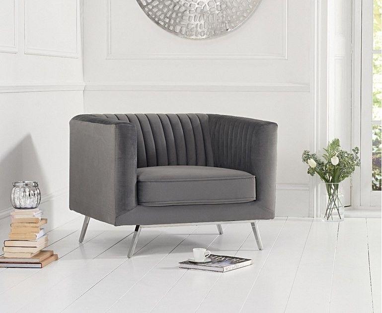 Mark Harris Danielle Grey Velvet Armchair
