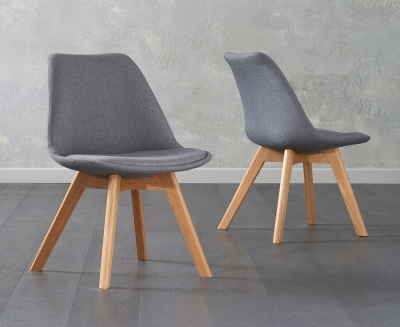 Mark Harris Dannii Dark Grey Fabric Dining Chair (Pair)