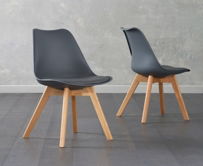 Mark Harris Dannii Dark Grey Faux Leather Dining Chair (Pair)