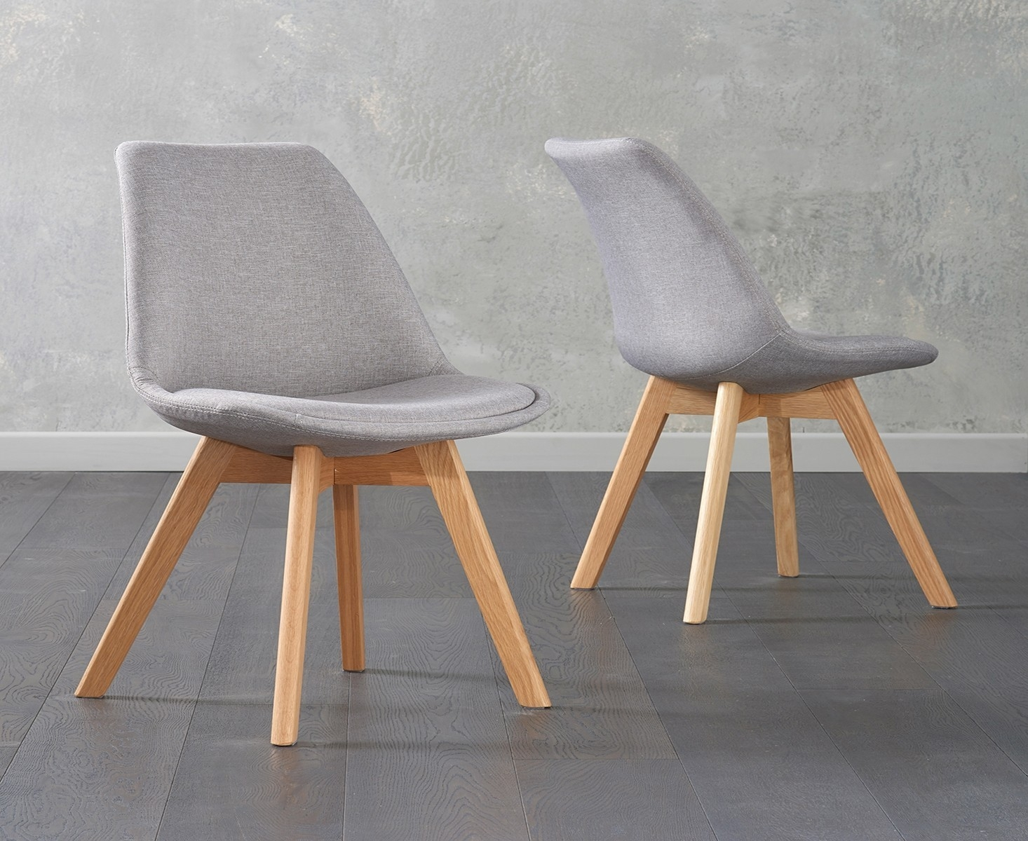 Mark Harris Dannii Light Grey Fabric Dining Chair (Pair)
