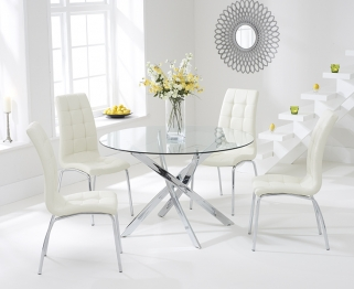 Mark Harris Daytona 110cm Glass Round Dining Set with 4 California Cream Dining Chairs