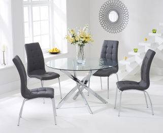 Mark Harris Daytona 110cm Glass Round Dining Set with 4 California Grey Dining Chairs