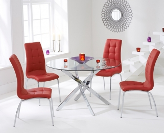 Mark Harris Daytona 110cm Glass Round Dining Set with 4 California Red Dining Chairs