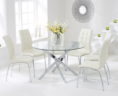 Mark Harris Daytona 120cm Glass Round Dining Set with 6 California Cream Dining Chairs