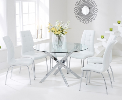 Mark Harris Daytona 120cm Glass Round Dining Set with 6 California White Dining Chairs