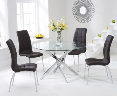Mark Harris Daytona Glass Round Dining Table and 2 California Chairs - Chrome and Brown