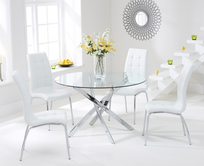 Mark Harris Daytona Glass Round Dining Table and 2 California Chairs - Chrome and White