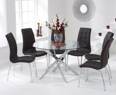 Mark Harris Daytona Glass Round Large Dining Table and 4 California Chairs - Chrome and Brown