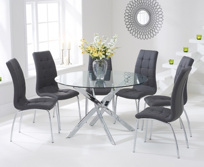 Mark Harris Daytona Glass Round Large Dining Table and 4 California Chairs - Chrome and Grey