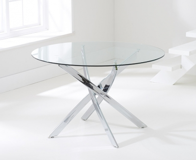 Mark Harris Daytona Round Large Dining Table - Glass and Chrome