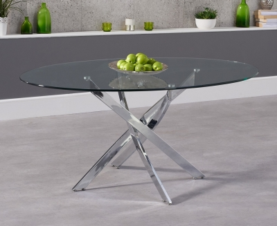Mark Harris Daytona Oval Dining Table - Glass and Chrome