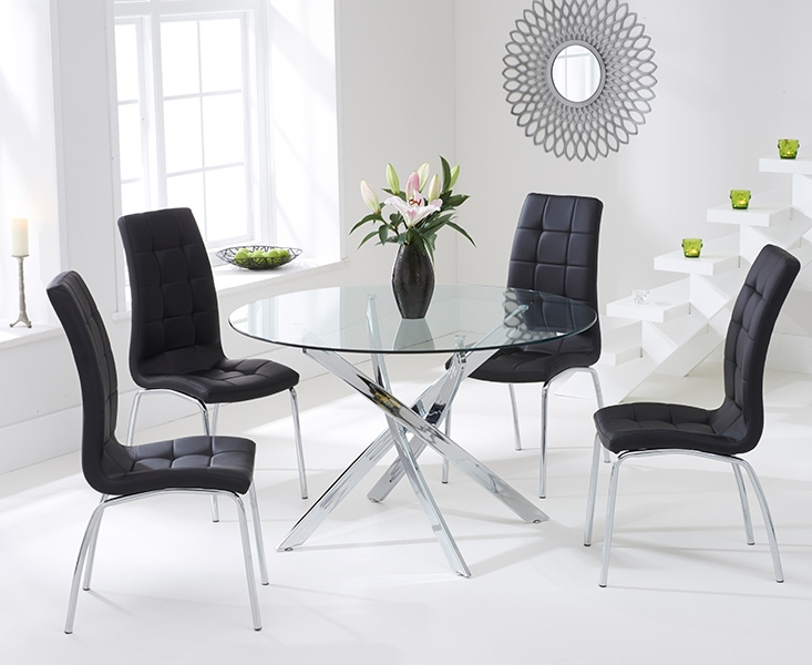 Mark Harris Daytona 110cm Glass Round Dining Table with 4 California Black Dining Chairs