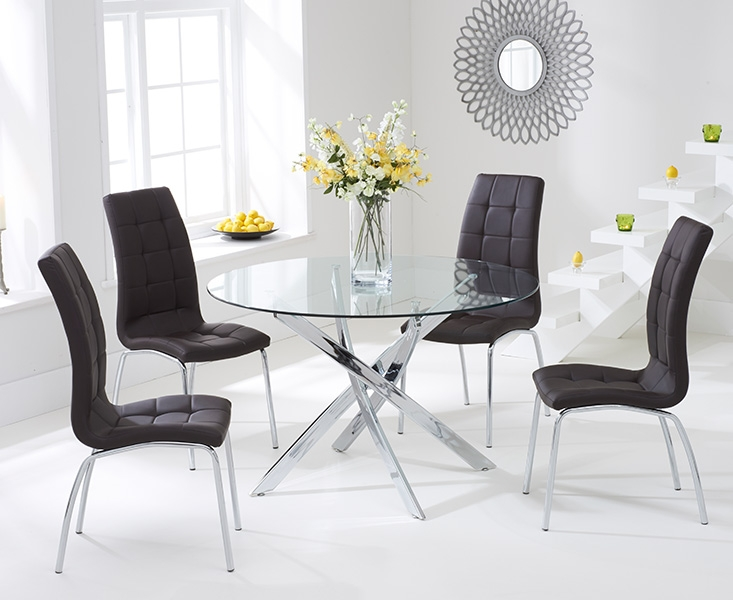 Mark Harris Daytona 110cm Glass Round Dining Table with 4 California Brown Dining Chairs