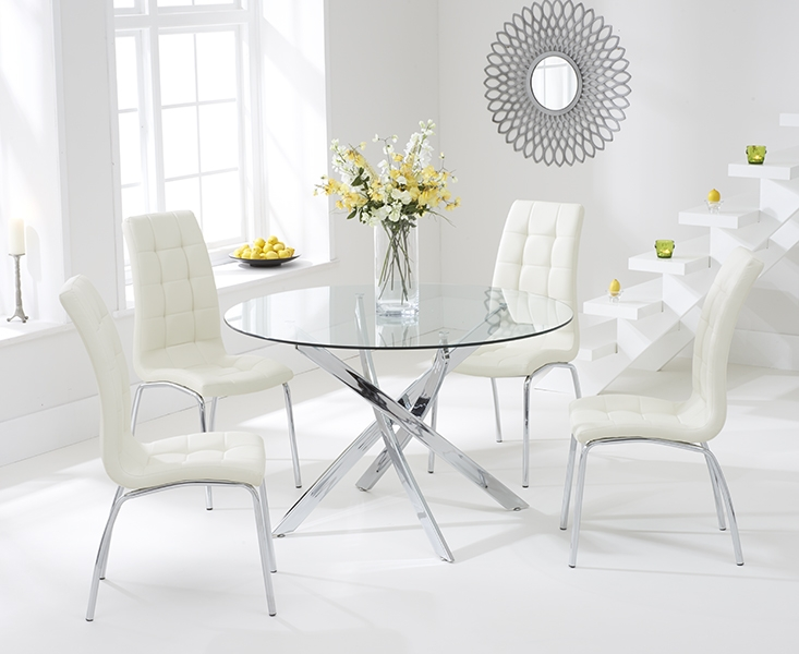 Mark Harris Daytona 110cm Glass Round Dining Table With 4 California Cream Dining Chairs Mark