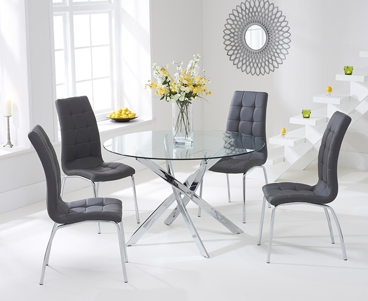Mark Harris Daytona 110cm Glass Round Dining Table with 4  : 3 Mark Harris Daytona 110cm Glass Round Dining Table with 4 California Grey Dining Chairs from www.choicefurnituresuperstore.co.uk size 733 x 600 jpeg 178kB