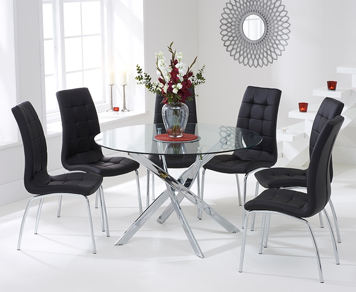 Mark Harris Daytona Glass Round Large Dining Table and 4 California Chairs - Chrome and Black