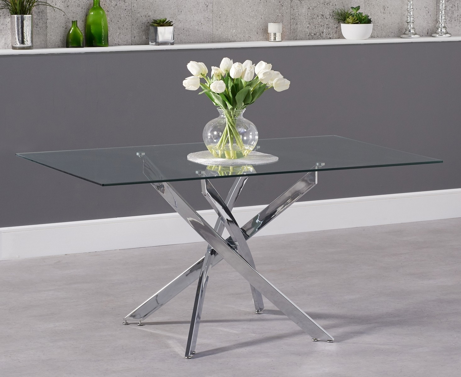 Mark Harris Daytona Dining Table - Glass and Chrome