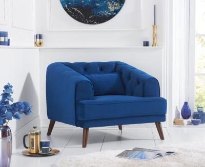 Mark Harris Destiny Blue Velvet Armchair