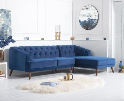 Mark Harris Destiny Blue Velvet Right Hand Facing Corner Sofa